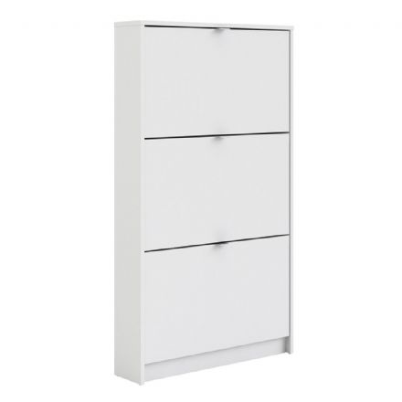 Shoes Shoe cabinet w. 3 tilting doors and 1 layer in White